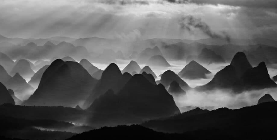 Beautiiful shots of Karst Mountain Region in China