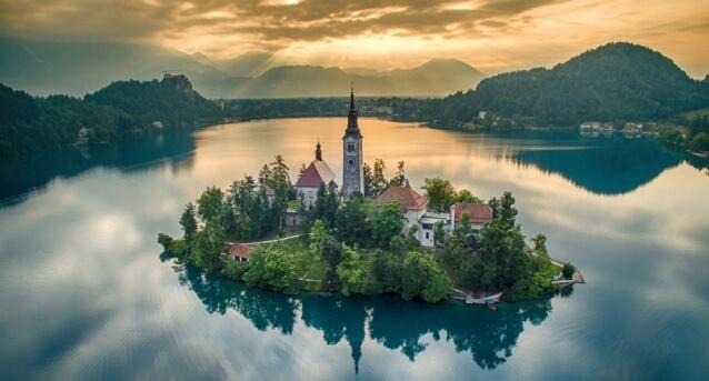 Beatuiful Aerial Shot Over Slovenia's Lake Bled
